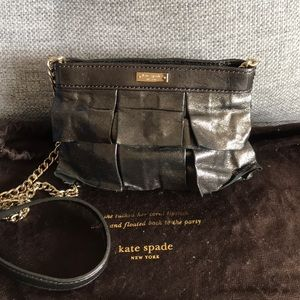 Kate Spade ruffle clutch evening bag with chain